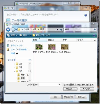 Windows Live Messengerのテーマの選択画面の「参照」ボタンを使って、その画像が保存されているところへ行く