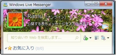 Windows Live Messenger のテーマが自分の好きな画像になった!
