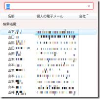 Windows Live メールのアドレス帳「連絡先の検索」に「山」と入力してみた