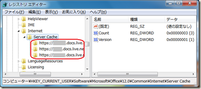 レジストリ エディターで HKEY_CURRENT_USER\Software\Microsoft\Office\12.0\Common\Internet\Server Cache を開いたところ