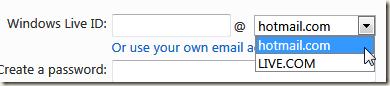 英語での「hotmail.com」や「live.com」が取得できる