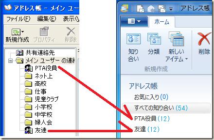 Outlook Expressのアドレス帳でグループにしておいた「PTA役員」と「友達」はWindows Live メールのアドレス帳でカテゴリになった