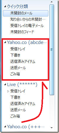 「Yahoo.co(abcde・・・)」が「Live(******)」の上へ移動