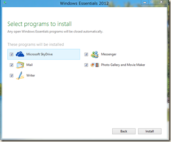 Windows Essentials 2012 インストール画面