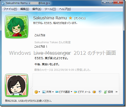 Windows Live Messenger 2012 のチャット画面