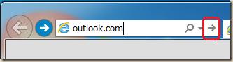 outlook.com と入力して→をクリック