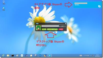 デスクトップで表示される2種類のSkype 通知