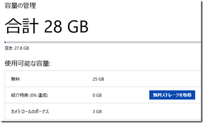 OneDriveの容量の管理