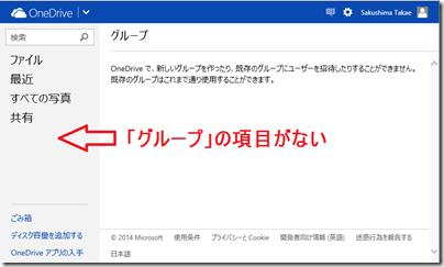 OneDrive にグループの項目がない