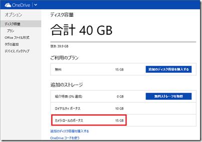 OneDriveのディスク容量
