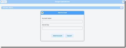 Google Authenticator の「Add Account」
