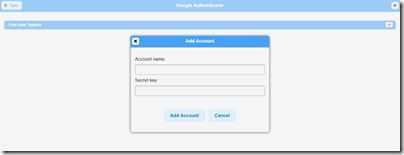 Google Authenticator の「Add Account」