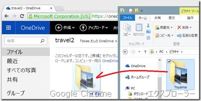 フォルダーごと OneDrive.com へドラッグ&ドロップ
