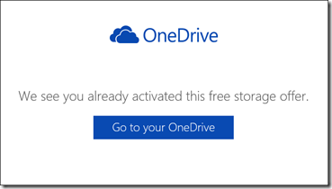 We see you already activated this free storage offer.