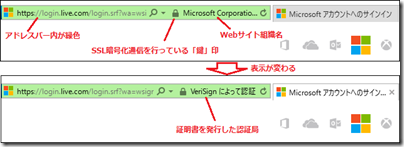 Internet Explorer での真正なサイトの場合