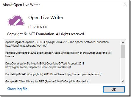 Windows 10用アプリの Open Live Writer のバージョン情報