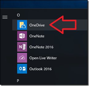 スタートメニューから「OneDrive」を選択